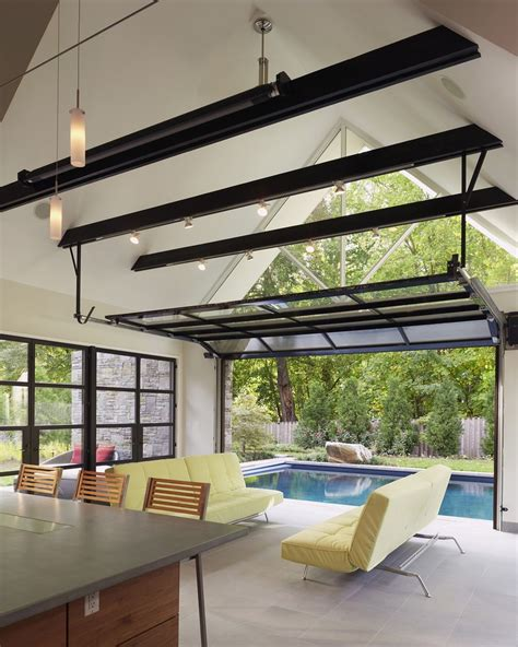 clear garage doors  concrete floor canopy house custom