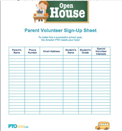 back to school sign in sheet template sign up sheet for open house from pto today back to