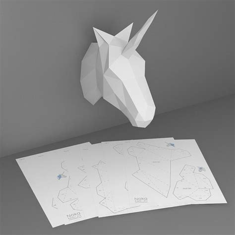unicorn 3d papercraft model downloadable diy template