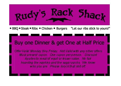 Rack Shack Coupon by O The Rat December 2006