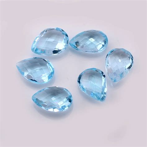 Blue Topaz Sky Cutting by Sky Blue Topaz Pears Briolettes Cut 7x10mm
