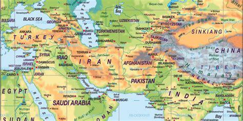 karte von nahost asien uebersichtskarte regionen der