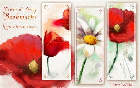 printable poppy bookmark flower bookmarks printable digital painting spring bookmark