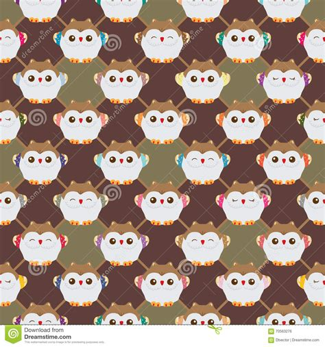 japanese owl pattern japanese lucky owl diamond side seamless pattern stock