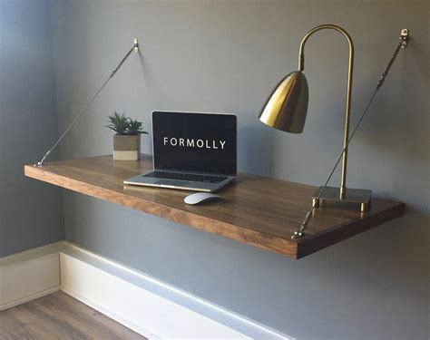 Floating Wall Desk Floating Desk Wall Mounted Desk Walnut