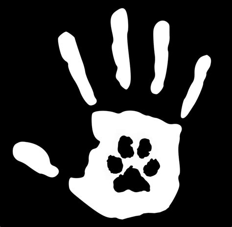 printable vinyl window decals hand print with paw print dog cat pet rescue 6 2 inch