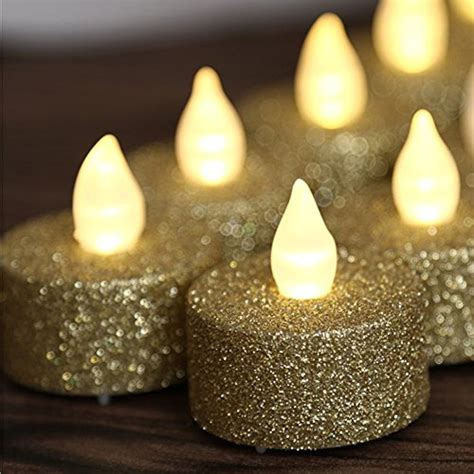 led gold glitter flameless candle 10 in candles home loguide 12pcs led flameless gold glitter votive tealight