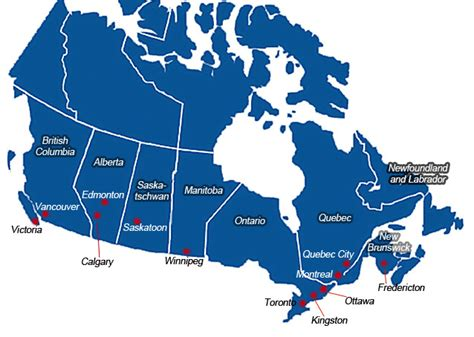 canadian map with major cities profile isec en