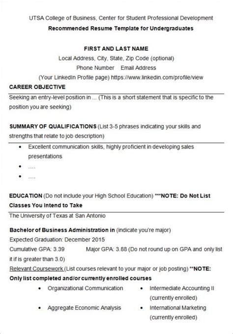 resume sle for college students resume format for college students