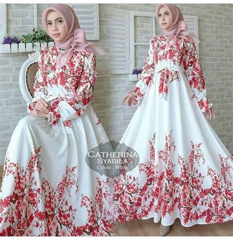 Gamis Maxi Jersey Bunga gamis maxi modern syabila putih baju muslim murah