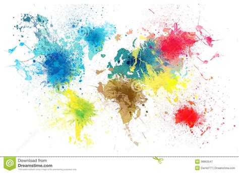 world map with paint splashes stock illustration image 38863547