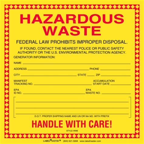 Standard Waste Label Stock Paper 6 Quot X 6 Quot Hazardous Waste Labels Wm87 Free Hazardous Waste Label Template