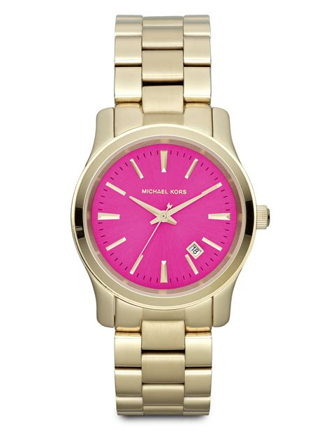 michael kors goldtonefinished stainless steel pink