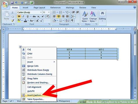 how to a table in word how to add a caption to a table in word 8 steps with