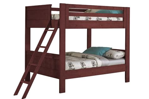 red twin bed red twin over twin bunk bed with ladder at gardner white