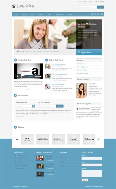 wordpress themes grand college 14 wordpress themes for educational websites webdesigner lab