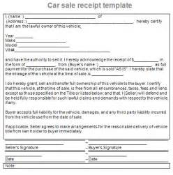 sle of receipts template sale receipt car