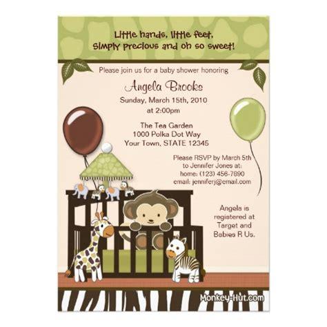 baby shower monkey invitations monkey baby shower invitation 5 quot x 7 quot invitation card zazzle