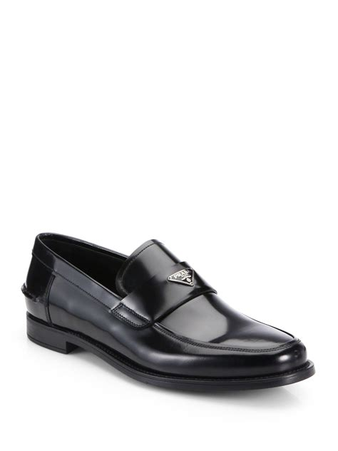 prada loafer prada spazzolato slipon loafers in black for lyst