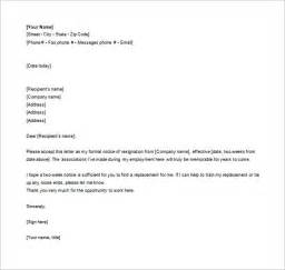 Formal Letter Of Resignation Exle by 10 Formal Resignation Letter Templates Free Sle Exle Format Free