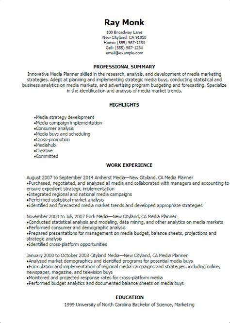 Media Planning Manager Resume 1 media planner resume templates try them now