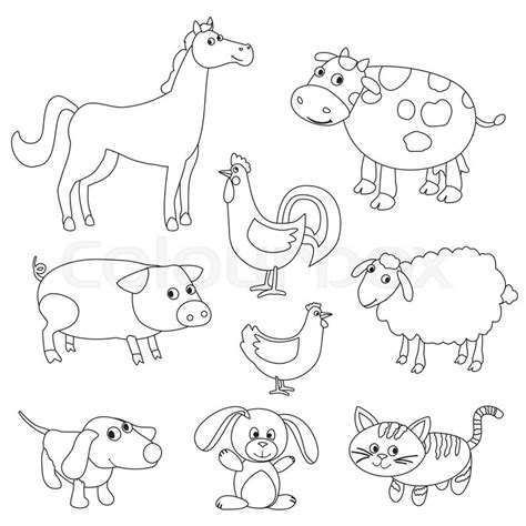 Outline Pictures Of Animals For Colouring Cute Cartoon Farm Animals And Birds For Coloring Book Outline Vector With Adjustable Stroke