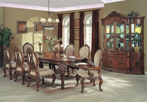 french country dining room set formal dining collection with carved leg table chairs and china