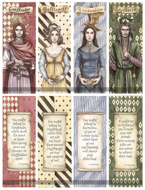 free printable narnia bookmarks hogwarts founders double sided bookmarks by achen089 on