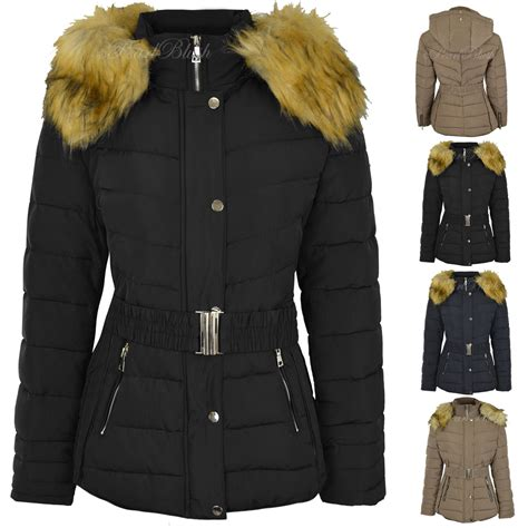 Plus Size Quilted Coat by Womens Plus Size Fur Hooded Quilted Padded Winter Jacket Parka Coat Size Ebay