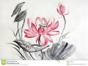 Style Flower Watercolor Painting Of Big Lotus Flower Stock Illustration
