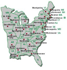 us map east states map of eastern united states and capitals