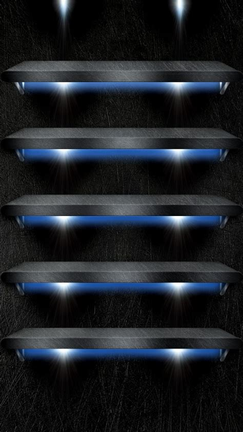 Shelf Iphone 5 Wallpaper by Shelves With Blue Background Lights Wallpaper Free