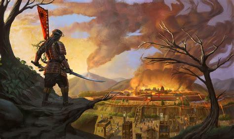 artwork samurai sword katana city fire fantasy art