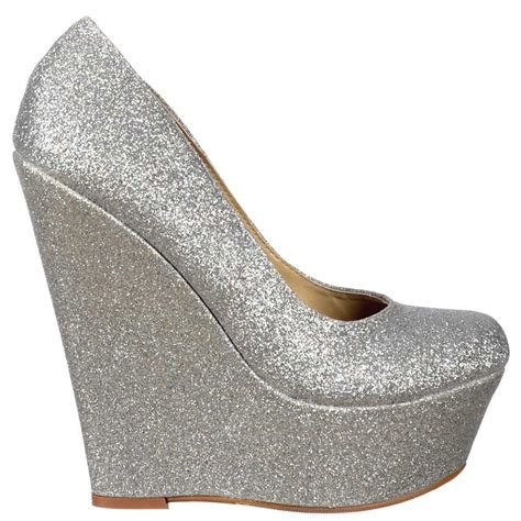 shoekandi glitter wedge platform shoes silver glitter