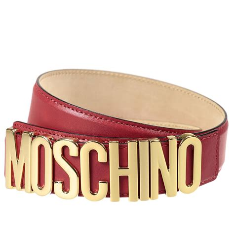 Moschino Belt moschino belt lettering calf leather in lyst