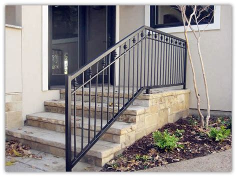 Exterior Stair Handrails Rustproof Wrought Iron Railings Metal Railing Outdoor