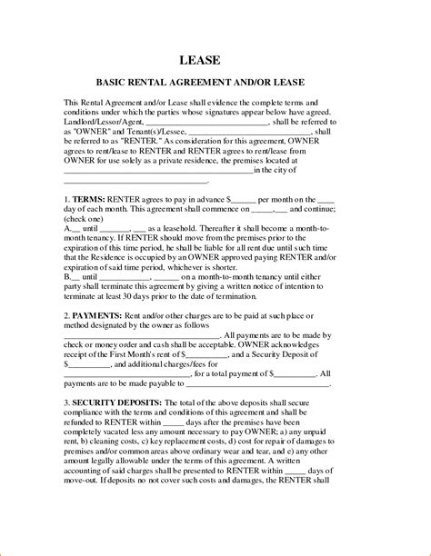 4 Basic Lease Agreement Template Teknoswitch General Rental Agreement Template