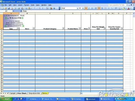 book template excel blank spreadsheets printable inventory sheet