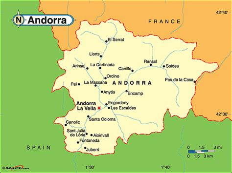 where is andorra on the map andorra political map by maps from maps world s