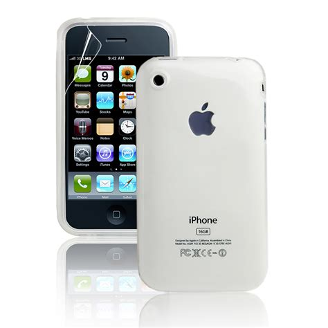 white transparent gel silicone case  iphone  gs screen protector ebay