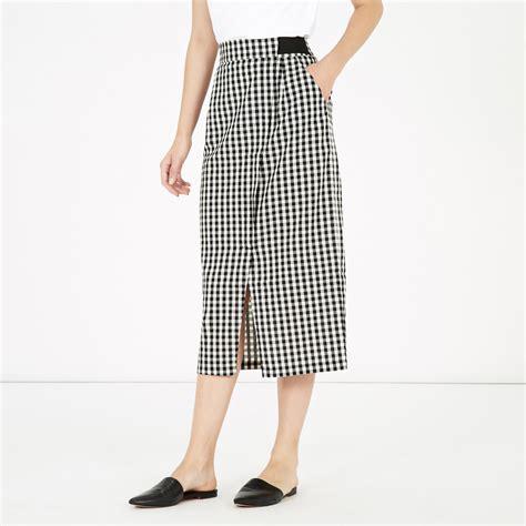 gingham wrap skirt warehouse