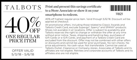 Printable Coupons Talbots Outlet | talbots coupons printable coupons in store retail