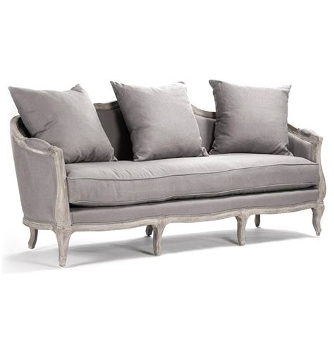 Rue Du Bac French Country Grey Linen Feather Sofa Kathy Feather Sofa