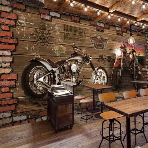 custom 3d mural cafes 3d vintage motorcycle car wood brick wall european retro cafe