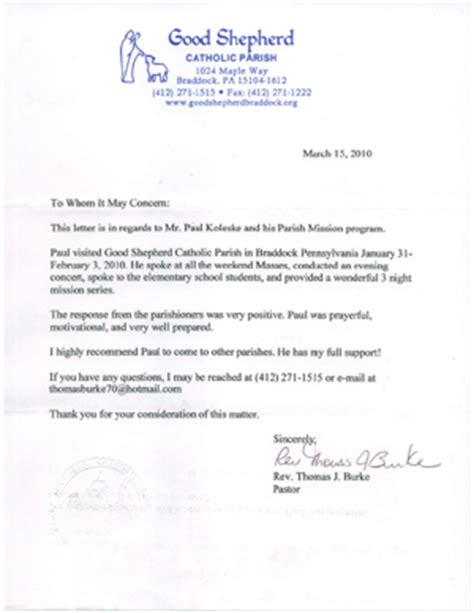 Recommendation Letter For To Minister Reference Letters Paul Koleske Catholic Speaking Ministry