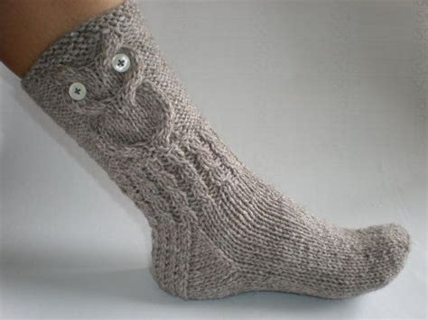 pattern for owl socks hand knitted grey brown color women socks with owl pattern