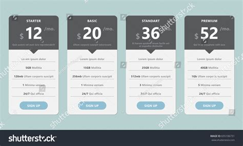 Vector Pricing Table Template Design Business Stock Vector 655106731 Shutterstock Software Pricing Template