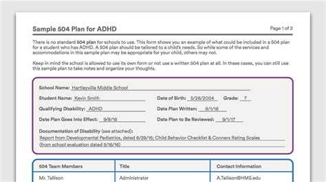 section 504 accommodations for adhd 504 plan bing images
