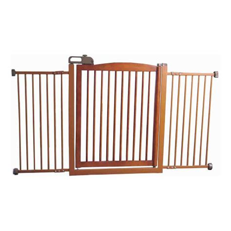 Gate With Pet Door by Wide Pet Gate With One Touch Door Wood In Pet Gates