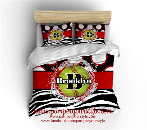 Softball Bedding Zebra Softball Comforter Softball Gift